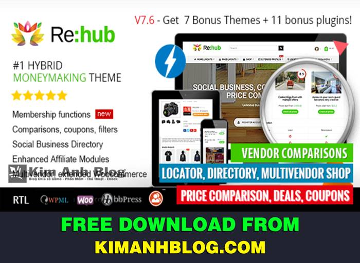 wordpress theme, template website wordpress, themeforest wordpress template, rehub - price comparison affiliate marketing multi vendor store community theme, rewise rehub, mua theme rehub, theme rehub v7.6.7, rehub free download, theme ban hang