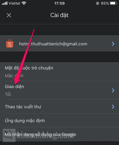 cách bật dark mode cho gmail điện thoại